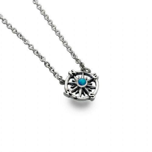 Blue Opal Compass Necklace Solid Sterling Silver Hallmark Luxury Box